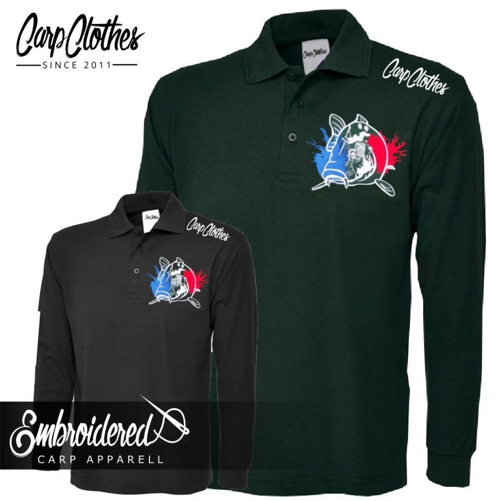 018 EMBROIDERED CARP LS POLO